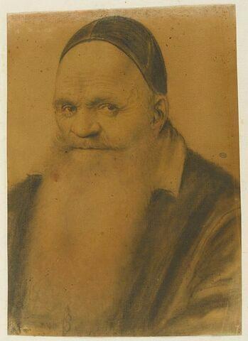 Magistrat, à longue barbe, vu de trois quarts à gauche