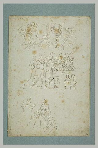 Feuille d'études : trois têtes de femmes, étude pour la mort de Germanicus..