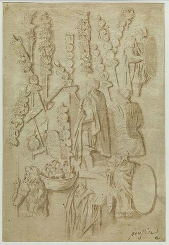 Feuille d'études : soldats et étendards de la colonne Trajanne