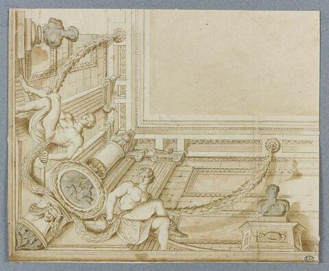 Quart de plafond avec architecture et sculpture feintes. Projet pour l'escalier de l'hôtel de La Vrillière à Paris