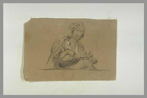 Figure assise jouant de la cithare