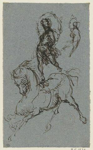 Ecuyer de cirque sur un cheval