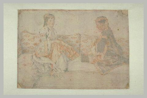 Deux dames grecques ou franques assisses et jouant au mankala'h