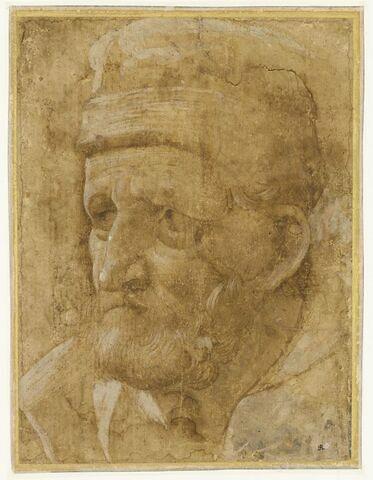 Tête d'homme barbu, coiffé d'un bonnet, de trois quarts