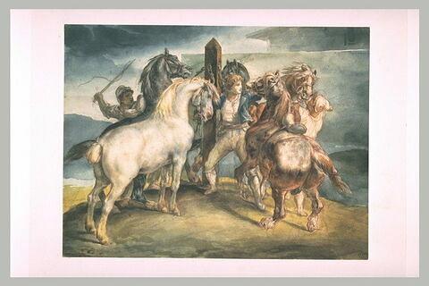 Le marché aux chevaux : cinq chevaux au piquet