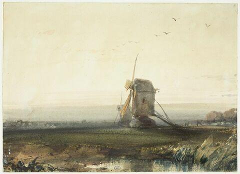 Paysage avec deux moulins, au soleil couchant