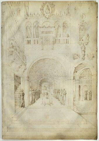 La Mort de la Vierge dans une riche architecture de palais vénitien