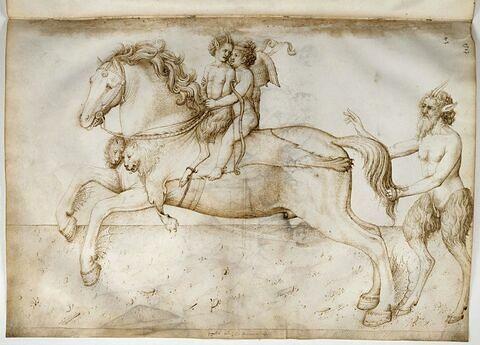 Cupidon emporte un jeune panisque sur le cheval magique Pégase