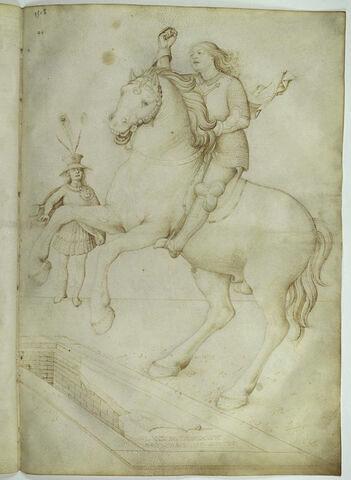 Un cavalier saute à cheval au-dessus d'un tombeau