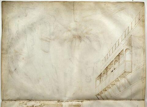 Etage supérieur d'un palais avec balcon de bois