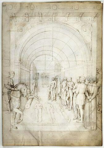 Trois cadavres entourés de spectateurs, sous un portique