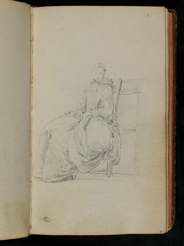 Femme assise, de trois quarts à gauche, la tête de face
