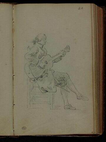 Jeune homme, assis, jouant de la guitare