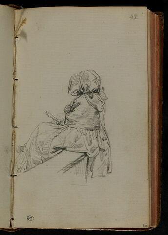 Femme, assise, tournée à gauche