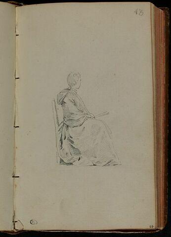 Jeune femme, assise, tournée à droite