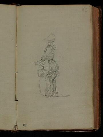 Femme, debout, tournée à gauche