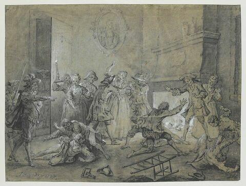 Renouvellement du combat contre deux servantes de l'hôtellerie