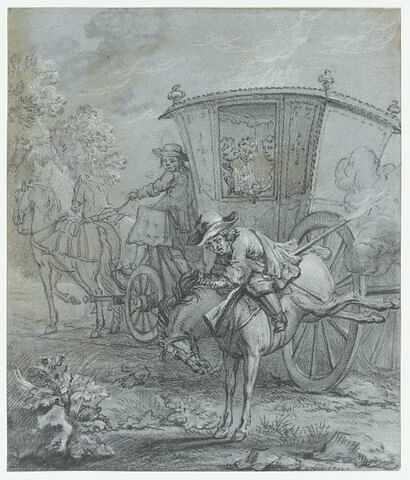 Ragotin à cheval avec une carabine qui lui tire entre les jambes
