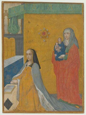 Anne de Bretagne agenouillée en prière avec, derrière elle, sainte Anne tenant une Vierge à l'Enfant