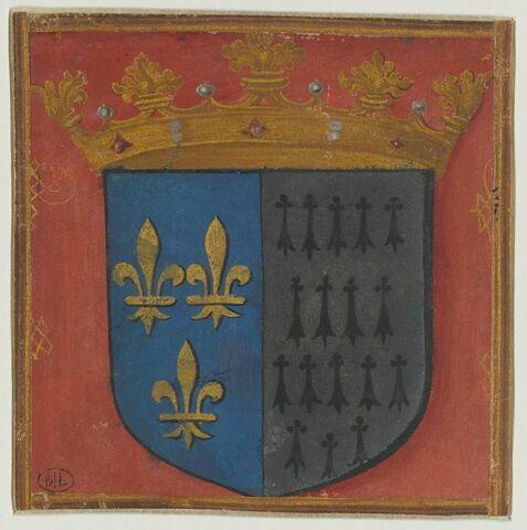 Écu aux armes de France parties de celle de Bretagne, sommé d'une couronne