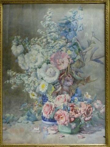 Roses-trémières et roses