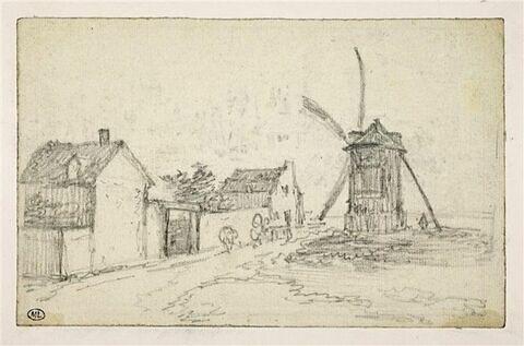 Moulin et maisonnettes à Montmatre