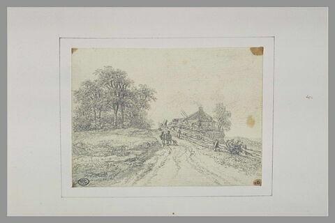 Figures cheminant  vers une ferme