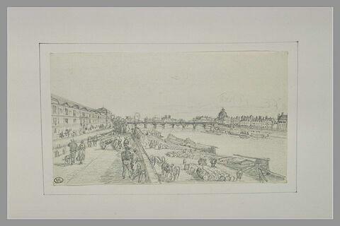 Débardeurs et promeneurs sur les quais de la Seine à Paris