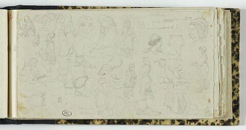 Etudes de détails de costumes et d'objets d'Arcadie