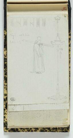 Mont Athos, moine de Karyès frappant à l'aide d'un marteau sur une simandre