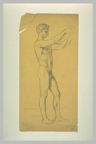 Homme nu, debout, de profil vers la droite