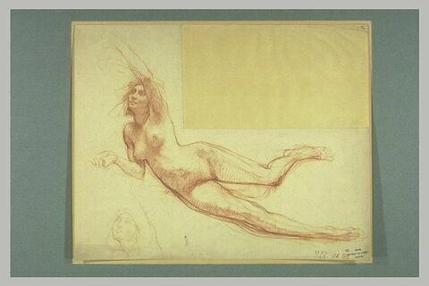 Femme nue, étendue, le bras gauche au dessus de la tête