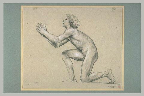 Jeune garçon nu, à genoux et priant, tourné à gauche