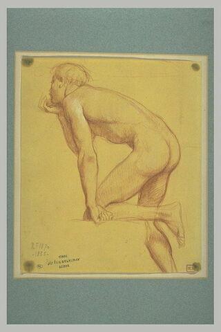 Jeune-Homme nu, le genou posé sur une marche, et la main sous le menton