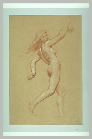 Femme nue, courant, tournée vers la droite