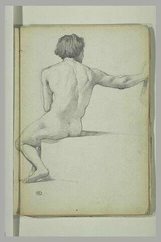 Homme debout, maniant un fouet, et genou