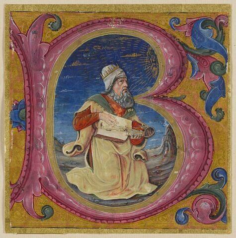 Le roi David, jouant d'une cithare organistrum, et auquel apparaît Dieu