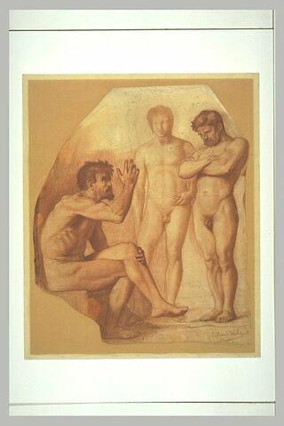 Deux hommes nus debout écoutant un homme nu assis