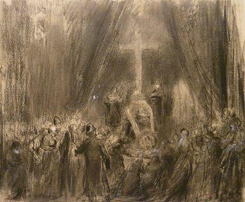 Exposition du corps de Napoléon III : représentation du service funèbre à Chislehurst, le 13 janvier 1873