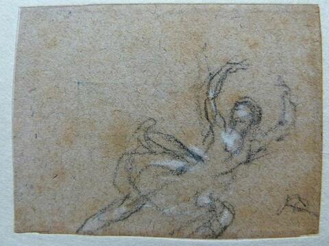 Danseuse vue de profil, à droite, les bras levés