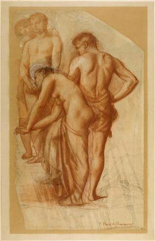 Groupe de quatre figures, dont une femme, tournées vers la gauche