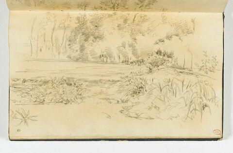 Paysage avec une étendue d'eau bordée d'arbres, près de Falaise