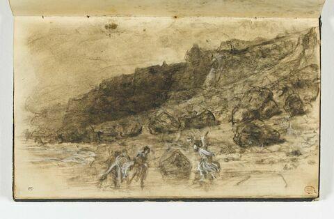 Figures sur la plage aux pieds des falaises, à Houlgate