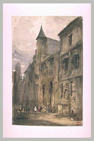 Maisons, église et fontaine de Rouen