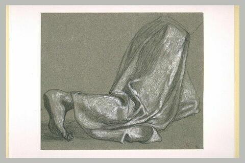 Etude de draperie et du pied d'une figure vue à mi-corps, agenouillée