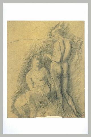Femme nue coiffant une autre femme nue