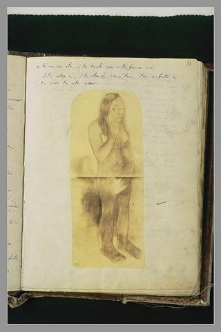 Notes manuscrites illustrées par une reproduction de l'oeuvre de Gauguin
