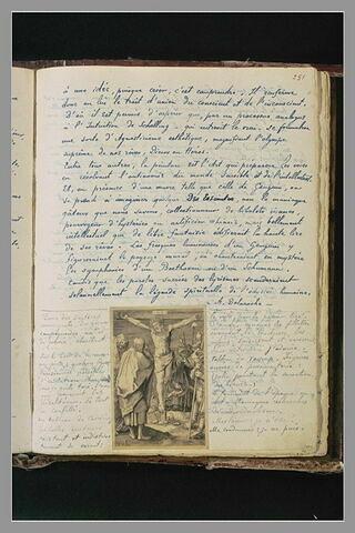 Texte manuscrit et gravure de Lucas de Leyde (crucifixion)