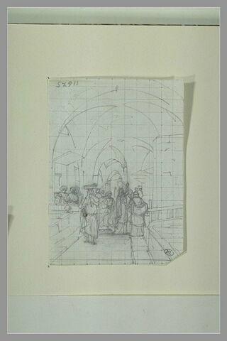 Une galerie à arceaux animée par diverses figures d'orientaux