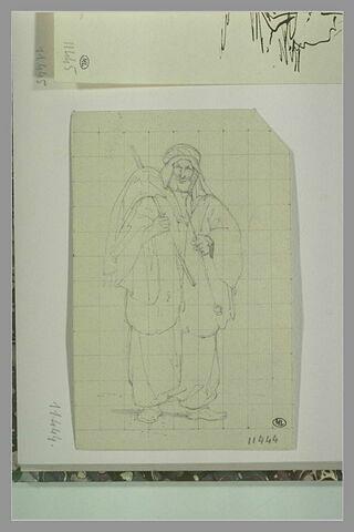 Oriental barbu, de face, à turban et caftan à larges manches